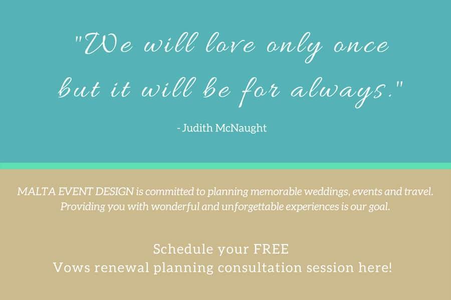 Wedding planning Vows renewal Malta Events