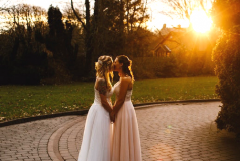 Lesbian wedding couple, romance
